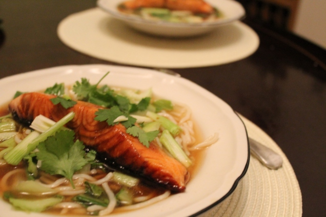 Soy Glazed Salmon with Miso Noodle Broth (1)