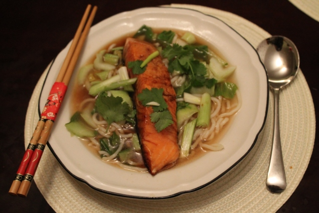 Soy Glazed Salmon with Miso Noodle Broth (2)