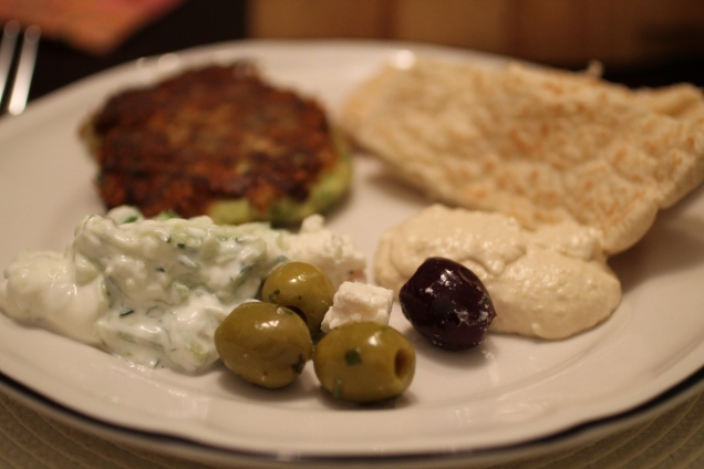 Greek Sharer with Courgette Fritters (1)