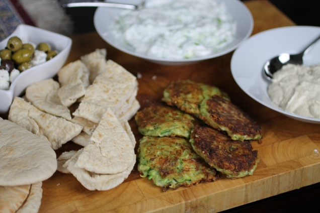 Greek Sharer with Courgette Fritters (2)