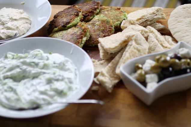 Greek Sharer with Courgette Fritters (3)