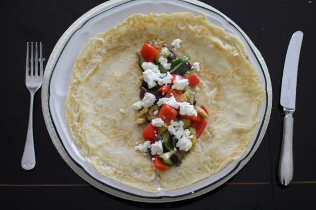Mediterranean Vegetables and Goats Cheese Pancakes (1)