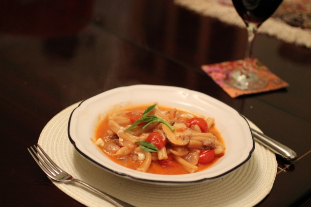 One Pot Sausage, Mushroom and Mozzarella Pasta (1)