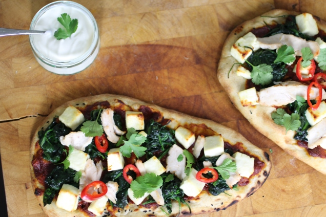 Chicken, Spinach and Paneer Naan Pizzas (1)