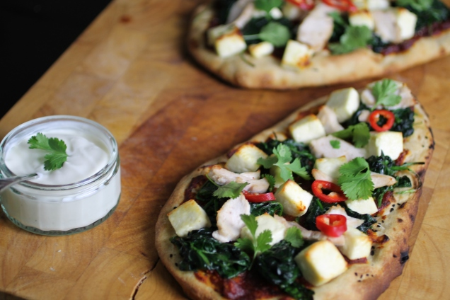 Chicken, Spinach and Paneer Naan Pizzas (2)