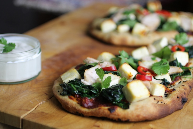 Chicken, Spinach and Paneer Naan Pizzas (3)