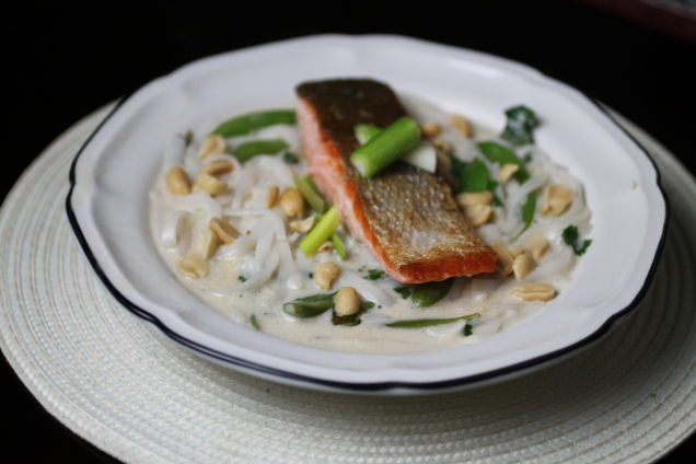 Pan Fried Salmon with Noodle Broth (1)