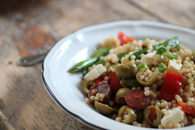 Chorizo and Sugar Snap Pea Giant Cous Cous (1)