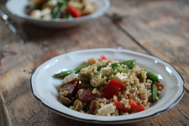 Chorizo and Sugar Snap Pea Giant Cous Cous (2)