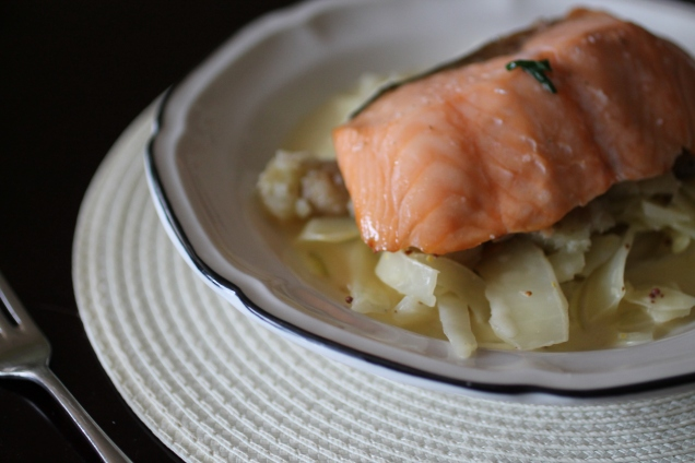 Smoked Salmon Fillets with Crushed New Potatooes and Mustard Cabbage (1)
