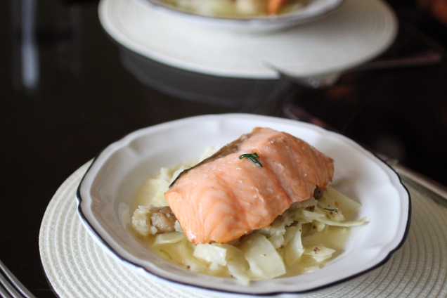 Smoked Salmon Fillets with Crushed New Potatooes and Mustard Cabbage (2)